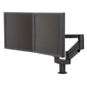Black 7000-8408 Dual Arm Monitor and Laptop Support System with Two Monitors.