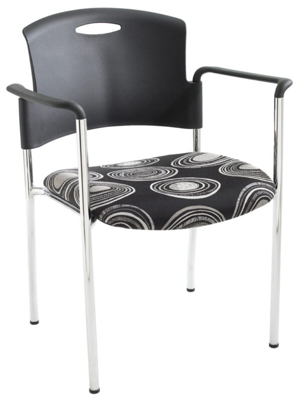 ecoCentric Stacker with Arms from ergoCentric. Equipped with Chrome Frame and Black and White Patterned Seat
