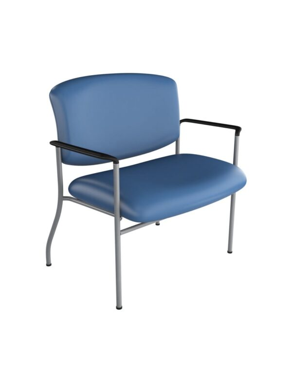 """30"""" Bariatric Guest Chair with Arms from ergoCentric. Equipped with Chrome Frame and Blue Seat"""