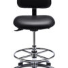 Ergo F ESD Chair/Stool from ergoCentric. Blue. Equipped with Tilt2 Mechanism, Chrome Base, Black Casters and Chrome Footring.
