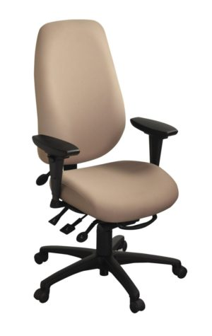 geoCentric Extra Tall Back office chair from ergoCentric. Beige. Equipped with Multi Tilt Mechanism, Oval Tube Adjustable T-Arms, Black Base, Arms and Casters.