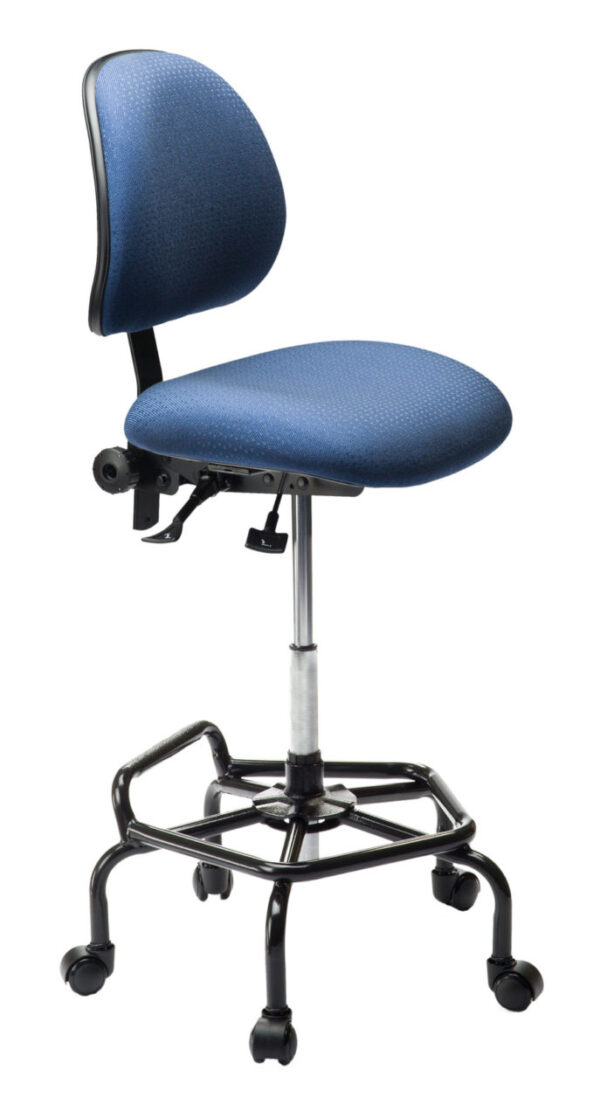 Ind. F Chair/Stool from ergoCentric. Blue. Equipped with Standard Mechanism, Black Industrial Bi-Level Base.
