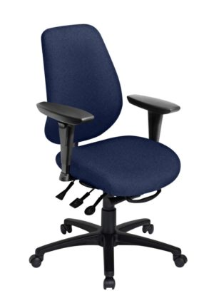 "Saffron Tall Back Ratchet office chair from ergoCentric. Black. Equipped with Multi Tilt Mechanism, 4"" Height Adjustable Swivel Arms, Black Base, Arms and Casters."