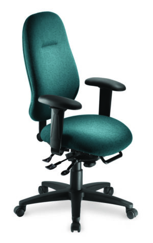 "Saffron High Back office chair from ergoCentric. Teal. Equipped with Multi Tilt Mechanism, 4"" Height Adjustable T-Arms, Black Base, Arms and Casters."