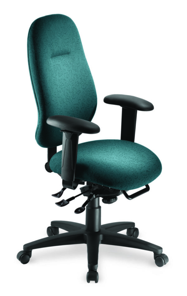 """Saffron High Back office chair from ergoCentric. Teal. Equipped with Multi Tilt Mechanism, 4"""" Height Adjustable T-Arms, Black Base, Arms and Casters."""