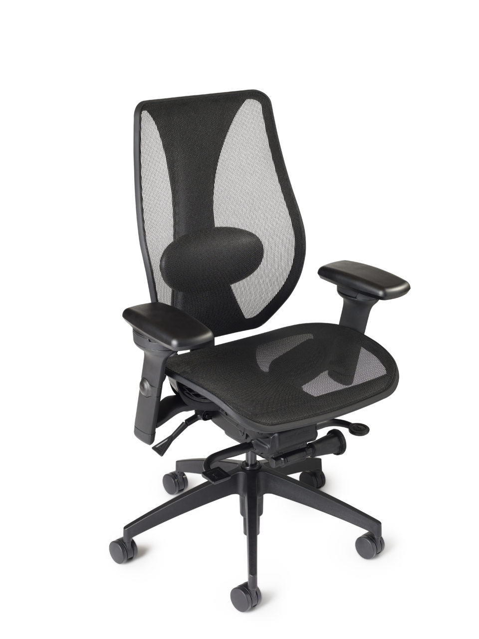 tCentric Hybrid All Mesh Lumbar Support Adjustable Arms Chrome Accent Casters