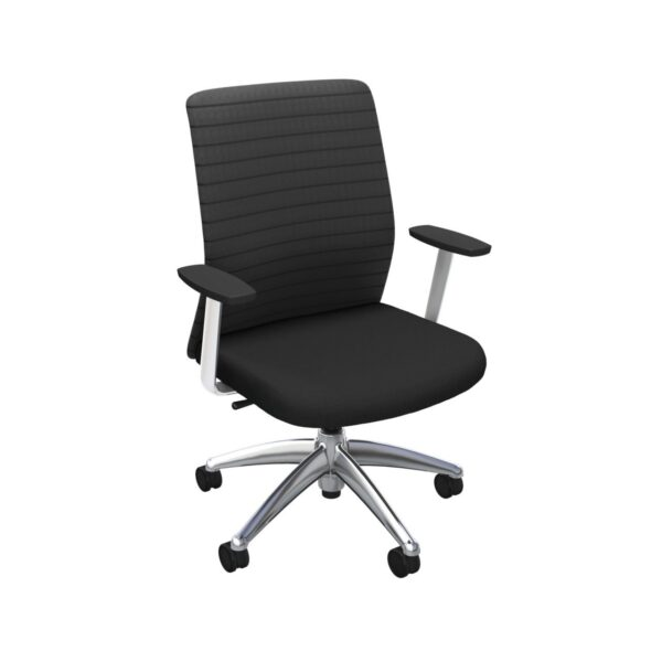 iCentric Mesh Back office chair from ergoCentric. Black. Equipped with 2 Position Lock Swivel Tilt Mechanism, Chrome Fixed Boardroom Arms, Chrome Base, Arms, and Casters.