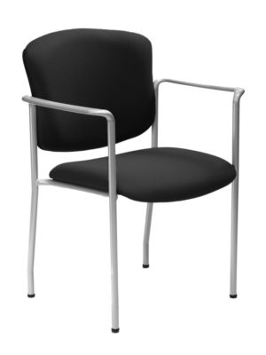 iCentric Stacker with Arms from ergoCentric. Equipped with Chrome Frame and Black Seat